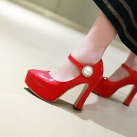 Womens Fashion Round Toe Ankle Strap Pumps High Heels Patent leather Dress Shoes