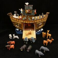 "15Pc 11-1/4"" Noah's Ark & Animals Display Set Hand Painted Resin Figure Figurine"