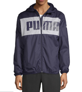 PUMA Windbreaker Jacket Mens Authentic New Blue Full Zipper Hooded Long Sleeve