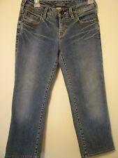 Silver jeans womens 27 inch waist capris denim blue jean cropped pants low rise