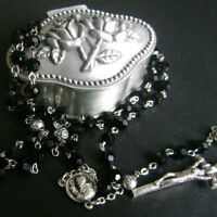 Black Glass & Silver Rose Beads Rosary Gift Box & Italy Cross Necklace