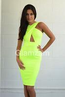 New Womens Ladies Keyhole Neon Stretch Backless Cut Out Midi Celeb Bodycon Dress