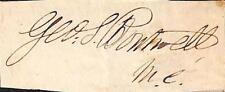 George S. Boutwell Mass.Governor Ulysses Grant's Secretary of Treasury Autograph