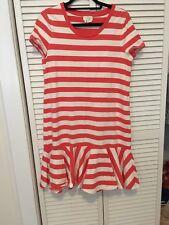 Kate Spade Orange & White Striped Dress Ruffle Hem, Size M, Live ColorfullyEUC