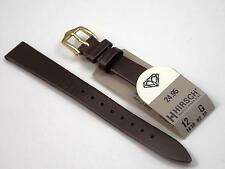 Hirsch Vintage Watch Band Ladies 12mm Brown Leather Gold Tone Buckle New Old Stk