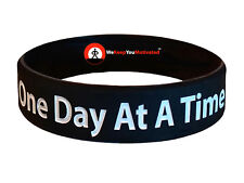 ONE DAY AT A TIME (BLACK) Wristband Motivational Inspirational Ionic Tourmaline