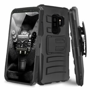 LG V30S V35 Thinq Hybrid Impact Armor Rugged Case Cover Belt Clip Holster BLACK
