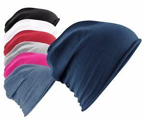Soft Cotton Mens Womens Unisex Plain Jersey Beanie Hat