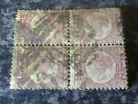 GB QV POSTAGE STAMPS SG48/49 1/2D PLATE 10 BLOCK OF 4 ROSE FINE USED