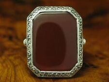 925 Sterling Silver Ring With Carnelian & Marcasite Decorations/Real Silver/Rg