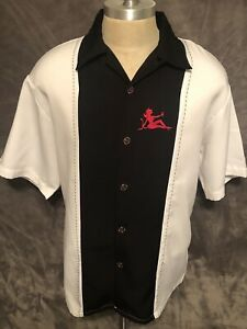 Men's - Hard Chrome Gear Camp Bowling Rockabilly Panel Button Shirt - Size LARGE