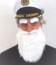 LARGE WHITE BEARD + EYEBROW SET. FANCY DRESS ACCESSORY, CAPTAIN, WIZARD, GNOME,