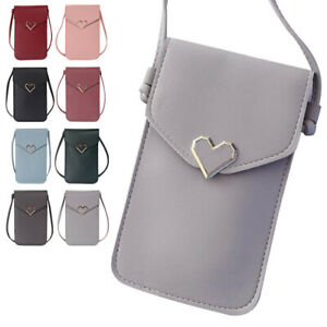 Women's Outdoor PU Crossbody Bag Transparent Touch-Screen Mobile Phone Bag Purse