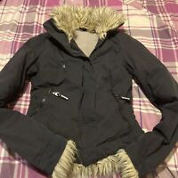 Bench Black Womens / Girls  Jacket Coat Hooded Faux Fur Trim Size Small