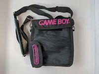 Vintage Nintendo Gameboy Carry Soft Case Travel Bag Black and Pink With Strap