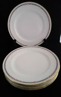C Ahrenfeldt Depose Limoges Luncheon Dinner Plate Pink Roses Blue Gold Lot 5 VTG