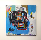 Hand Painted 24 x 24 Abstract Painting On Stretched Canvas Jean Michel Basquiat