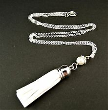 Faux Suede Tassel Necklace Pendant with a Glass Pearl Bead - White - # 414