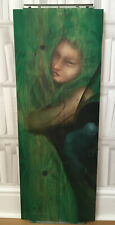 BEAUTIFUL VINTAGE MYTHICAL ART PAINTING ON WOOD TREE NYMPH INTERIOR DESIGN PIECE