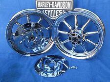Harley Davidson CHROME 9 Spoke Electra Glide Wheels Package Deal includes Rotors