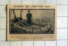 1915 Huge Lifebuoy Now Carried By Royal Navy, Keeps 45 Men Afloat