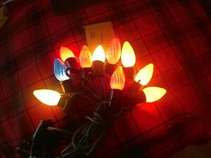 10 Vintage GE C9 Swirl Flame Christmas Bulbs Tested Inside Coated Auction #1