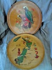 Vintage Handmade & Painted Wooden Plates Made in New Zealand- Birds and NZ Icons