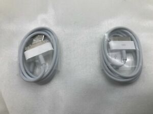 2x Original Apple 30-Pin USB Charge Sync Cable Charger - iPhone 2G 3G 4 4s iPad