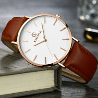 Fashion Leather Band Analog Quartz Round Wrist Business men's watch Simple US