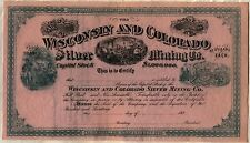 Wisconsin & Colorado Silver Mining Co. Stock Certificate