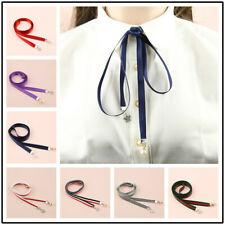 Fashion Women Bow Tie Silk Bow Tie Scarf Skinny Long Ribbon Tie Neck