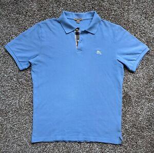 Authentic Burberry Brit Men's Size Medium Light Blue Cotton Collared Polo Shirt