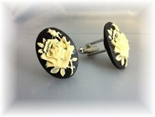 Mens Womens black and ivory rose cameo cufflinks  Made in USA