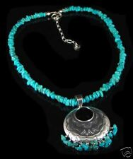 QVC Sterling Silver Turquoise Nugget Concho Necklace