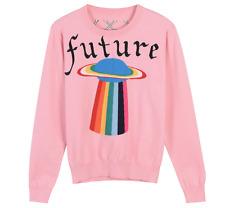 2017 Womens Designer Inspried  UFO Pattern Wool Knitwear Jumper UK 4-10 PINK/GRN