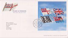 GB Royal Mail FDC 2001 hoja de sellos banderas & Ensigns tallents PMK