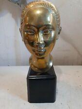 """Vietnamese geisha/woman head bust brass or bronze sculpture on wood base 13 +"""""""