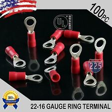 100 PACK 22-16 Gauge #10 Stud Insulated Vinyl Ring Terminals Tin Copper Core US