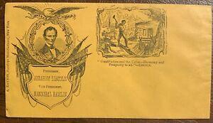 1860 Original Abraham Lincoln Hamlin Campaign Rail Splitter Cover Envelope