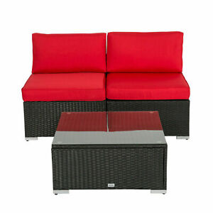 3 Pcs Outdoor Rattan Sofa w/ Tea Table  and Cushions Wicker Garden Furniture Red