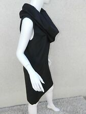 MORGANE LE FAY Dress Cowl Neck Collared Black Sleeveless Dress M
