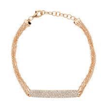 Womens 0.38 CT 14K Rose Gold Diamond Pave Bar Charm 4 Multi Chain Bracelet
