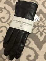 FOWNES BROTHERS Womens Leather Gloves BROWN Java Size M