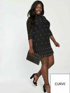 V By Very Curve Pearl Embellished Black Shift Dress - Size 22