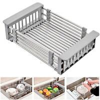 Stainless Steel Sink Dish Drying Rack Organizer Plastic Sink Drain Basket Safe