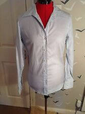 "Chic UNI QLO stripe cotton business shirt, SMALL, 10, 38, VGC, 27"" long, work."