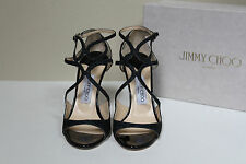 New 7.5 / 37.5 Jimmy Choo Lang Strappy Navy Ink Blue Glitter Ankle Sandals Shoes
