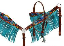 Showman Painted Headstall and breastcollar set with teal fringe! NEW HORSE TACK