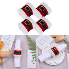 4Pcs Fabric Santa Belts Napkin Ring Holder Wrap Party Banquet Dinner Table Decor