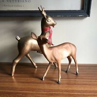 Vintage Hard Plastic Christmas Reindeer Deer Figurine Gold Hong Kong set of 2